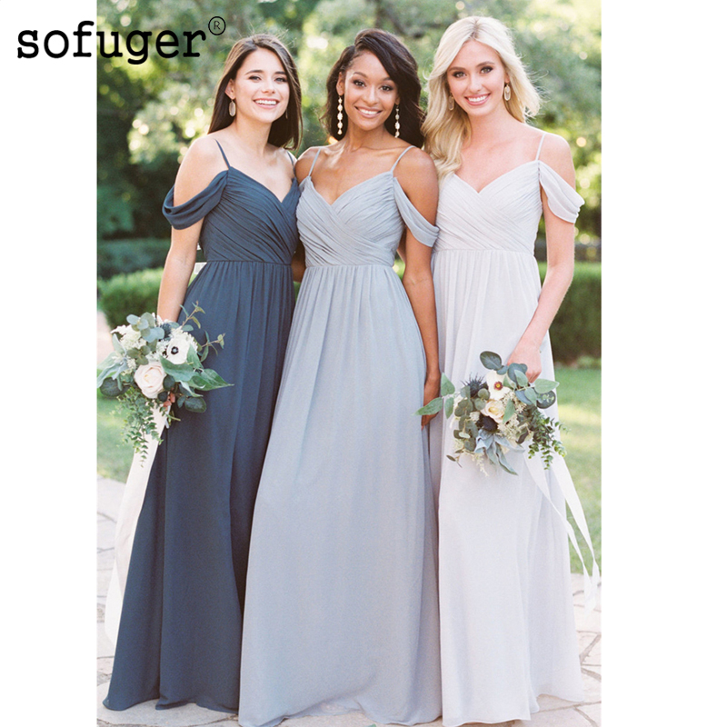 Exquisite Beach Chiffon Off The Shoulder Special Occasion Sexy Straps Bridesmaid Dresses Formal Vestidos Wedding Party Dresse