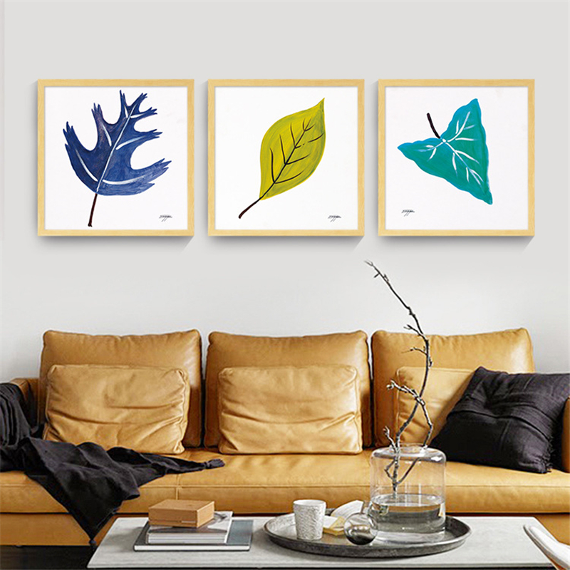 HAOCHU Nordic Canvas Painting Cartoon Square Posters Orange Green Blue Leaves No Frame Simple and Modern Style for Living Room