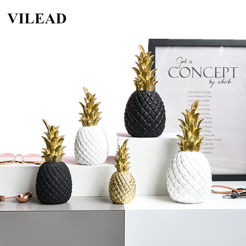 VILEAD 3 Size 9.8 7.8 5.9 Resin Pineapple Miniatures Figurines Gold Black White Fruit Model Crafts for Home DecorationVILEAD 3 Size 9.8 7.8 5.9 Resin Pineapple Miniatures Figurines Gold Black White Fruit Model Crafts for Home Decoration