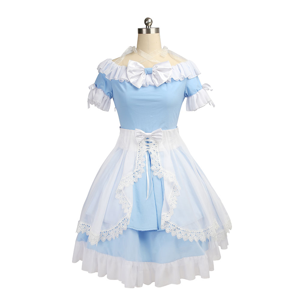 все цены на MANLUYUNXIAO Hot Sale Alice in Wonderland Costume Lolita Dress Maid Cosplay Fantasia Carnival Halloween Costumes for Women