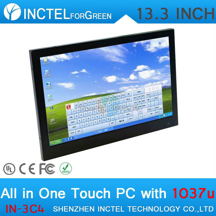 13.3 Resistive All-in-One Touchscreen Embeded PC 1G RAM 16G SSD with Intel Celeron 1037U 1.8Ghz hottest 14 inch desktop all in one pc with1037u 8g ram 120g ssd for office htpc