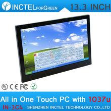 """13.3 """" резистивный все в одном сенсорный экран поместить его пк 1 г оперативной памяти 16 г SSD с Intel Celeron 1037U 1.8 ГГц"""