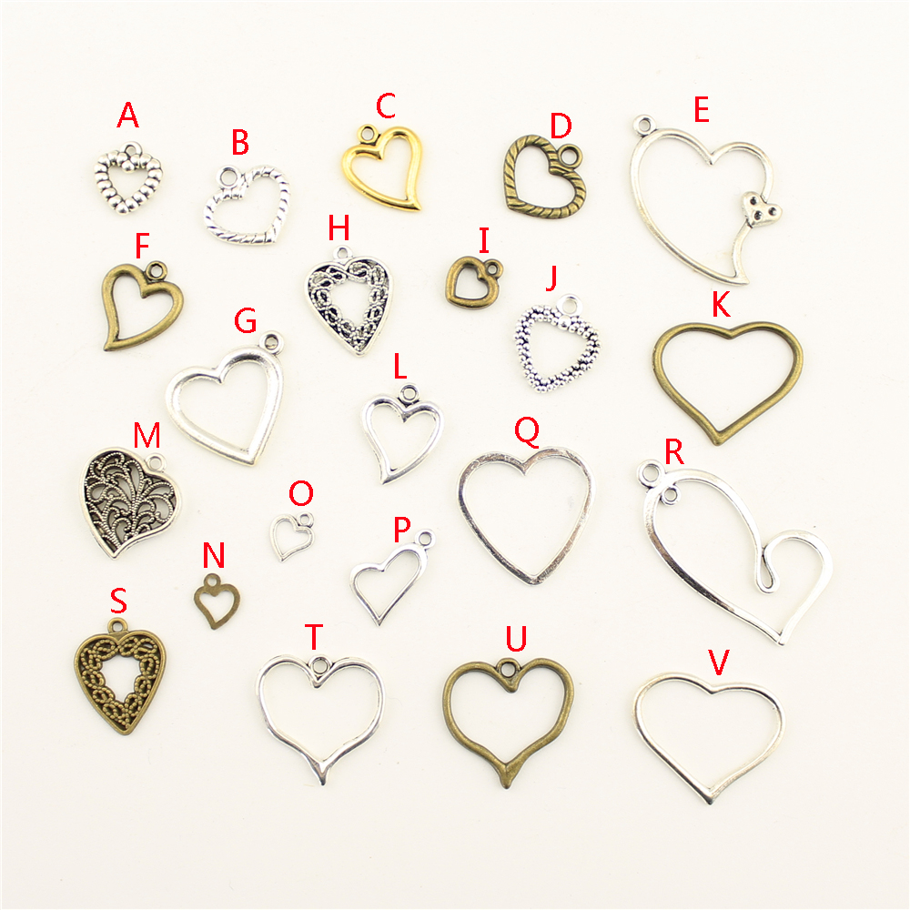 20Pcs Wholesale Bulk Jewelry Findings Components Hollow Heart Diy Accessories Jewelry Female HK124 in Charms from Jewelry Accessories