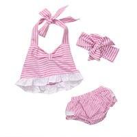 Toddler Kids Baby Girls Summer Clothes Sleeveless Vest T Shirt Top Shorts Pants Handband Cute Baby