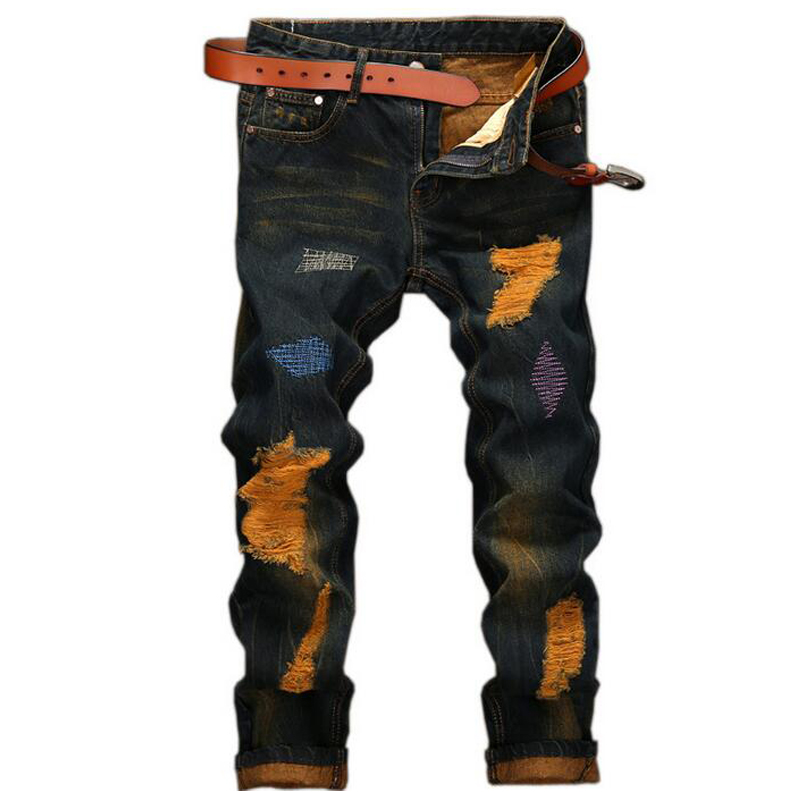 Mens jeans high quality Straight Hole jeans men Casual Retro Slim Jeans Pants ripped jeans for men denim trousers