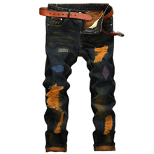 Мужские джинсы высокого качества Прямо Отверстие джинсы мужчин Случайные Ретро Тонкие Джинсы Брюки рваные джинсы для мужчин джинсовые брюки