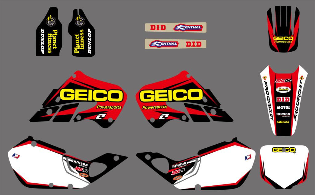 NICECNC Motorcycle Team Graphic Background Decal Matching Sticker Kit For Honda CR125 CR 125 1998 1999 CR250 CR 250 1997-1999