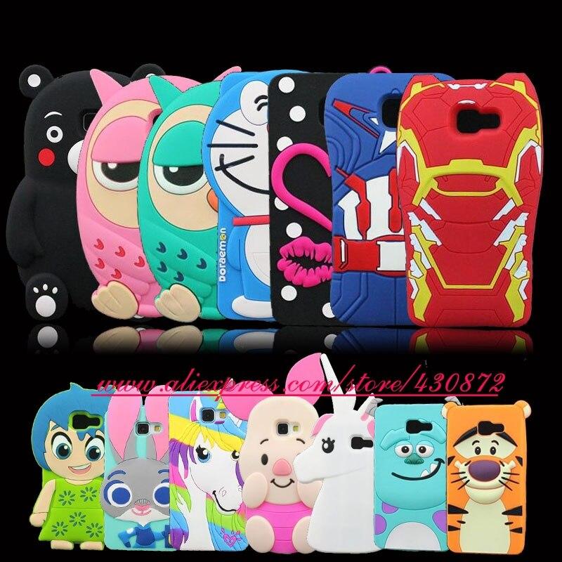 buy online a1ac1 a0a9e US $3.34 10% OFF For Samsung Galaxy A5 2016 A510 HOT 3D Silicon Owl  Doraemon Captain Iron Lip Unicorn Joy Kumamon Soft Rubber Cover Case  5.2