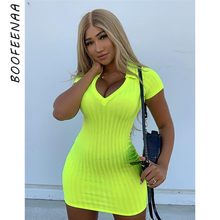 BOOFEENAA Neon Yellow Sexy Bodycon Dresses Short Sleeve V-neck Ribbed Knitted Sweater Dress Summer Ladies Clothing C66-I72(China)