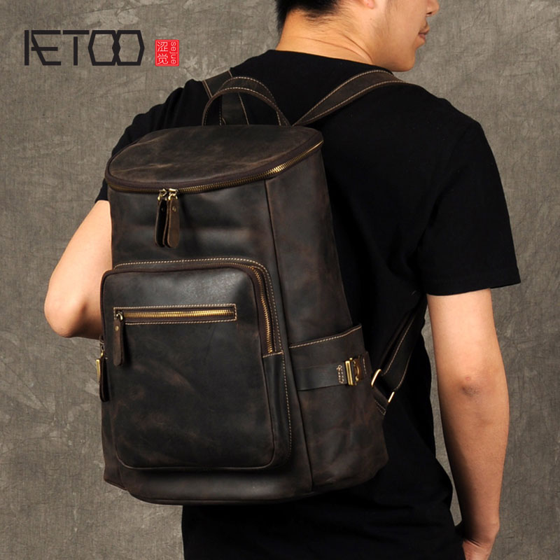 AETOO Crazy Horse Leather Backpack backpack men head layer cowhide fashion leisure travel bag bag fashion hiking leisure men backpack
