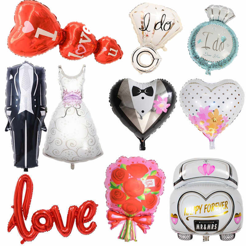 Big Wedding Foil Balloons Groom Bride Love Helium Ballon Air Baloon Birthday Party Decorations Adult Baloes Event Party Supplies