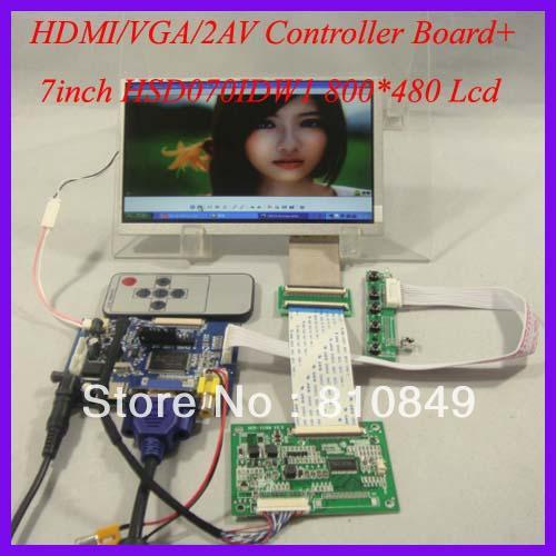 HDMI+VGA+2AV+Reversing LCD driver board+7inch 800*480 HSD070IDW1 Lcd panel hdmi vga 2av reversing driver board 8inch at080tn52 800 600 lcd panel
