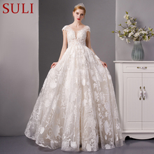 SuLi SL-6073 luxury beach wedding dress cap sleeves