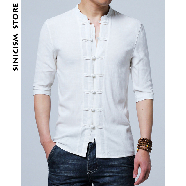 d80f1c9e Sinicism Store Cotton Linen Slim Fit Shirts Half Sleeve Man Summer Button Shirts  Male 2018 New Chinese Style Casual Shirts