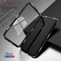 10pcs/lot Magnetic Case for IPhone X XS Clear Tempered Glass Magnet Adsorption Case for IPhone 8 7 6s+Glass Back Cover Bumper