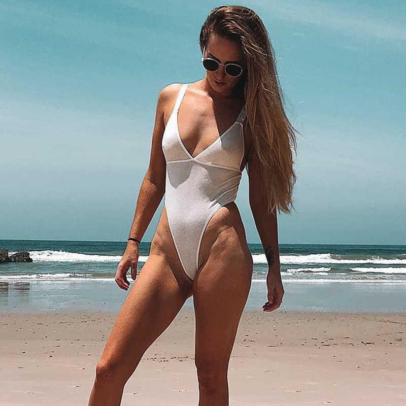 Tinggi Potong Baju Renang Seksi Pakaian Plus Ukuran Satu Piece Perban Girls Swimsuit Wanita Sexy Bodysuit Wanita Kulit Putih Thong Monokini