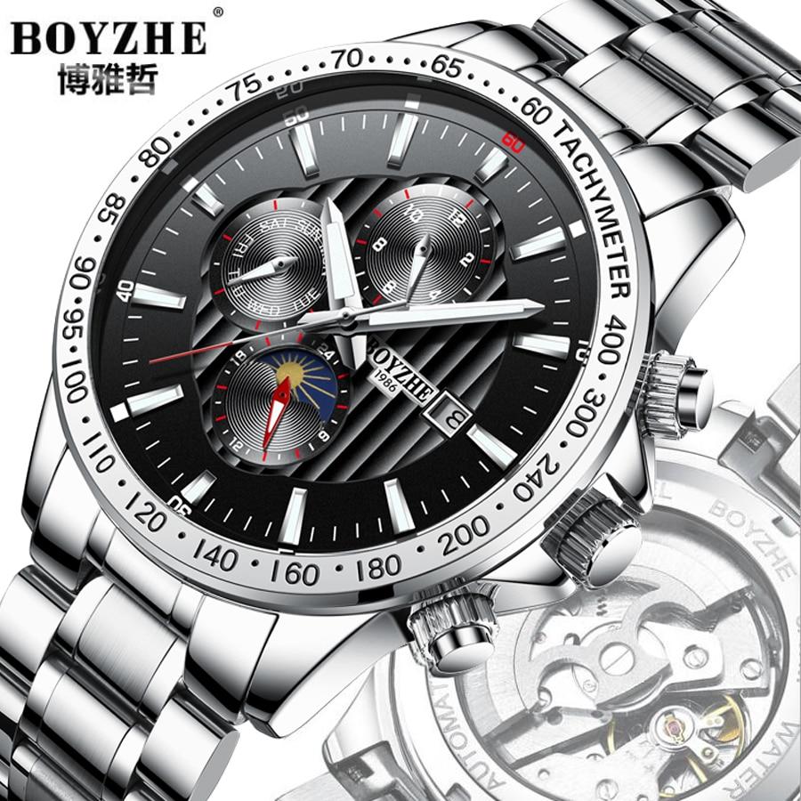 Fase de la luna Bisel de plata Dial de acero inoxidable para hombre - Relojes para hombres - foto 1