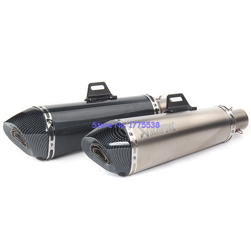 Long Model ID:51mm L:470mm Akrapovic Motorcycle Exhaust Muffler Stainless Steel Motorbike Exhaust Muffler Pipe Escape DB Killer