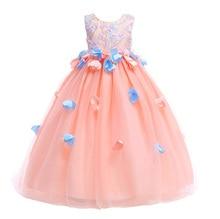 Flower girl dress fluffy party baby sleeveless applique princess wedding children clothes.