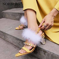 Fashion personality crystal women high heel feather accessories woman party shoes summer women's sandals brand shoes