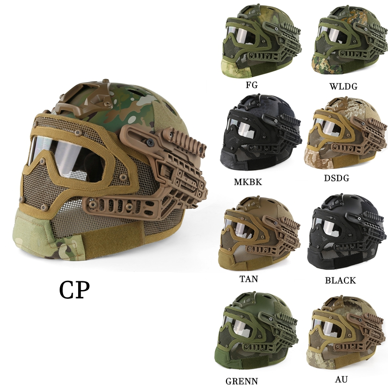 US Army ACU CP Camo Tactical Helmet ABS Mask with Goggles for Military Airsoft Army Paintball WarGame Motorcycle Cycling Hunting tactical wargame motorcycling helmet w eye protection glasses black size l7