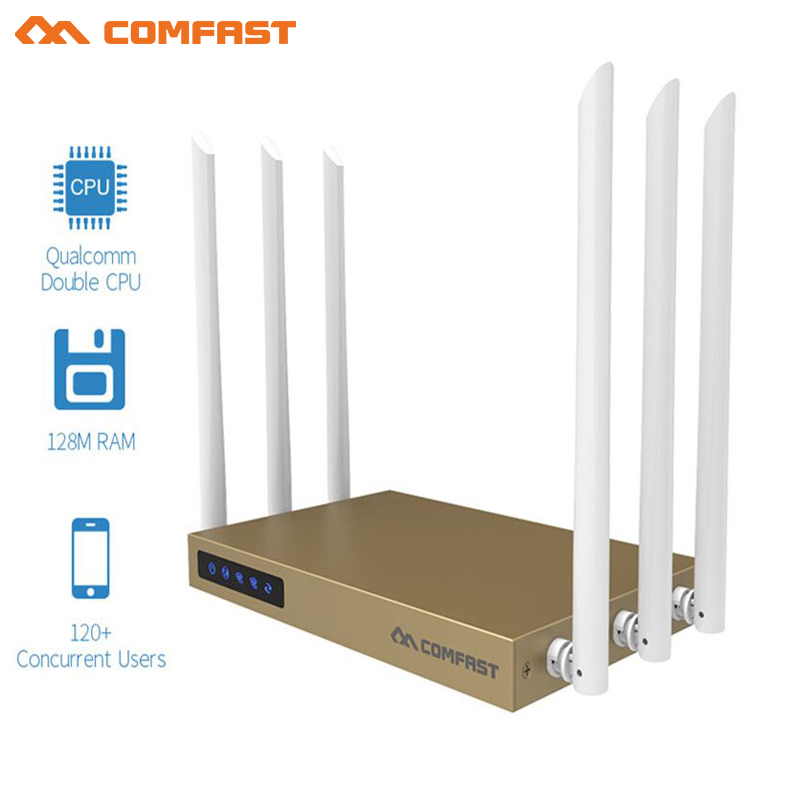 COMFAST 750Mbps 802.11ac 5.8G wireless router with 6*6dBi antenna wifi 128MB high speed transmission Wi fi router for 120+ users comfast 750mbps 802 11ac dual band wireless router with 6 6dbi antenna wifi 128mb ddr high power wifi router wi fi wide coverage