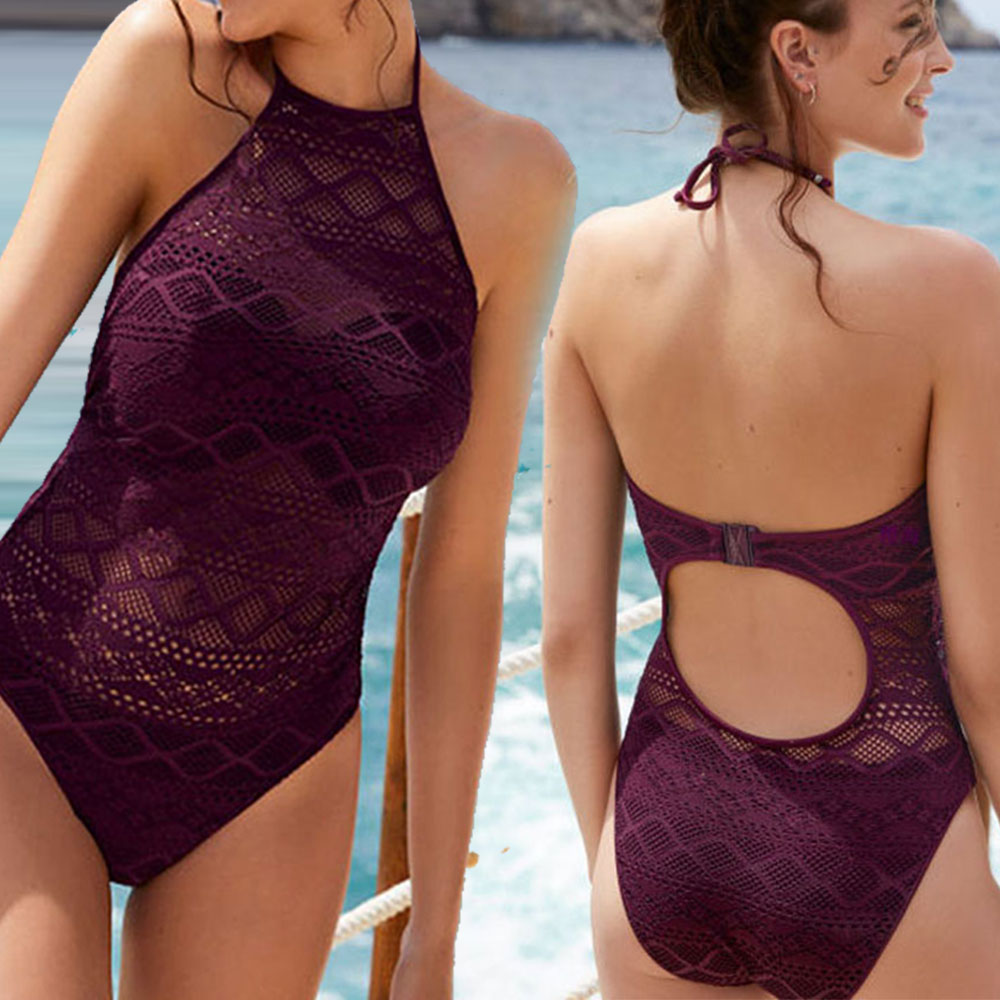 Lace One Piece Swimsuit Swimwear Women Solid High Neck Monokini Hollow Out Female Push Up Bathing Suit Maillot De Bain 2019