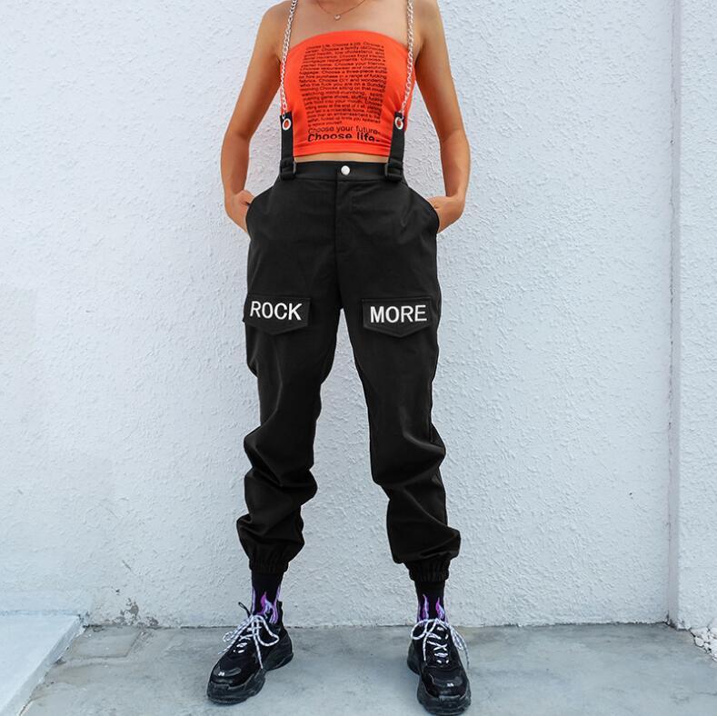 Hip Hop Chains Patchwork Letter Embroidery Pants Women 2019 Elastic High Waist Black Pants Capris Trousers Female