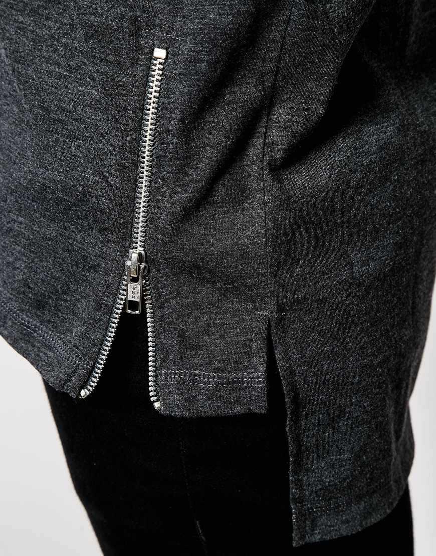 Black t shirt with zipper - Black T Shirt With Zipper 2016 New Style Side Zipper T Shirt Fashion Design Longline