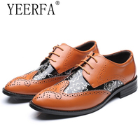 YIERFA Big Size 38 47 Men Wedding Dress Shoes Black Brown Oxford Shoes Formal Office Business
