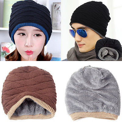 Winter Men Women Knit Beanie Reversible Skull Chunky Baggy Cap Warm Unisex Hat winter men women knit beanie reversible skull chunky baggy cap warm unisex hat