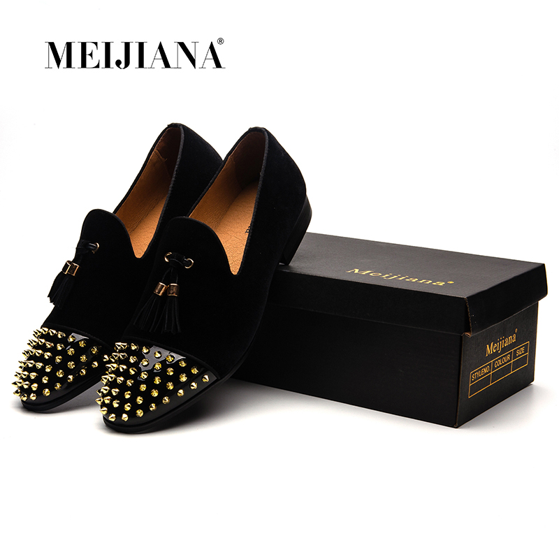 MEIJIANA 2018 новые роскошные индивидуальные мужские лоферы нубук ручной работы модные Мужская обувь с кисточками весна/осень обувь для торжеств