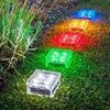 New Solar LED Light 4Leds Lamp Waterproof Ground Clear Glass Ice Rock Brick For Outdoor Yard