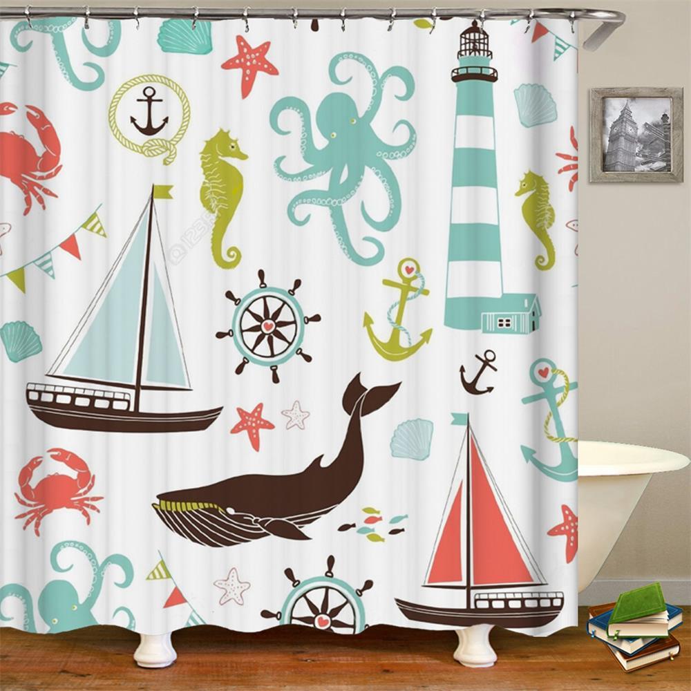Ocean Theme Whale Seahorse Sea Creatures and Anchor ...