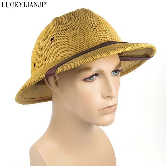 837a66f0 LUCKYLIANJI Women's Men's Novelty Hard Straw Helmet Pith Sun Hats For Army  Boater Bucket Hats Safari Jungle Miners Cap 56-59CM