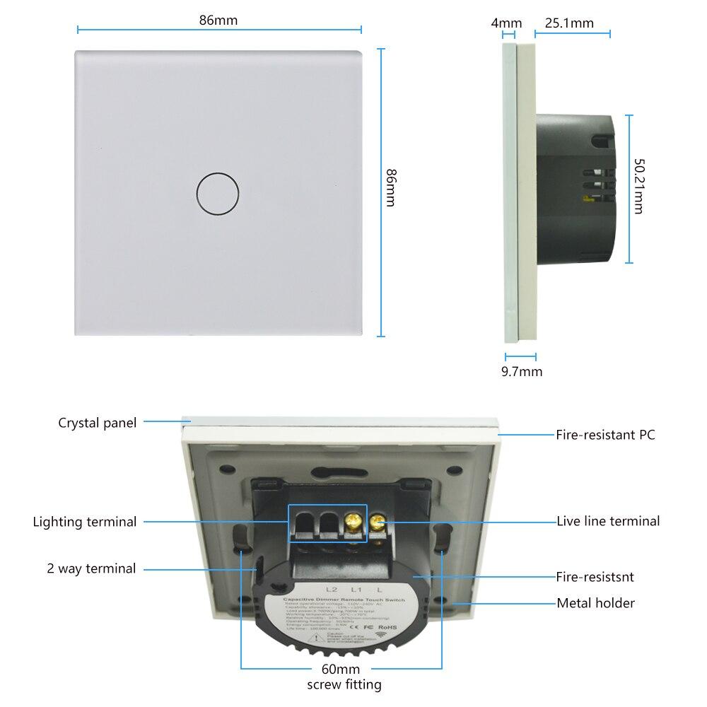 Bingoelec EU Standard 1 Gang 1 Way Touch Switch Sensor Screen Wall Switch Crystal Glass Panel Light Switch AC 220-250 1/2/3 Gang