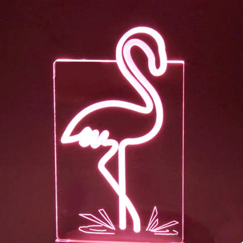 Creative Flamingo Shape Table Lamp USB 7 Colors Changing 3D LED Animal Night Light Bedroom Decor Sleep Light Fixture Kids Gifts