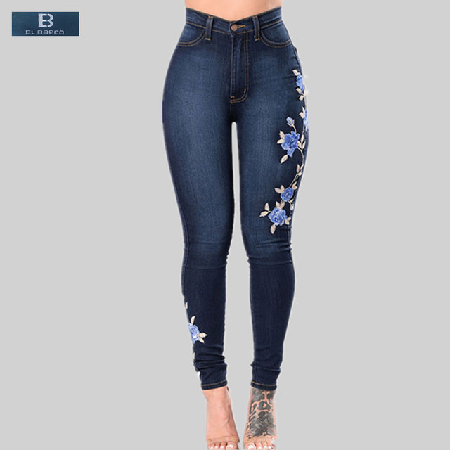 b7d219a03 [EL BARCO] Cotton Floral Embroidery Casual Jeans Female High Waisted Soft Blue  Skinny Pencil Pants Women Denim Trousers Size 3XL