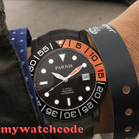 42mm Parnis schwarz zifferblatt Sapphire glas PVD fall Miyota automatische herren uhr P408