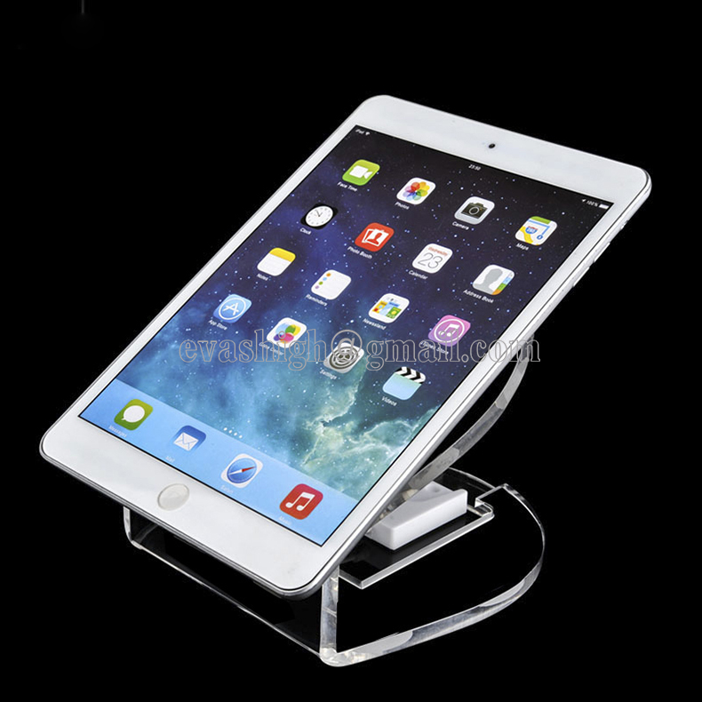 Transparent Acrylic tablet security stand Ipad retail display alarm charging anti-theft holderbase for andriod apple exhibit wholesale price mobile phone anti theft alarm display stand with charging for exhibition