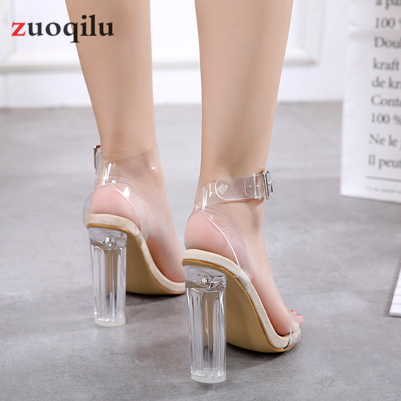 zapatos transparente tacón mujeres
