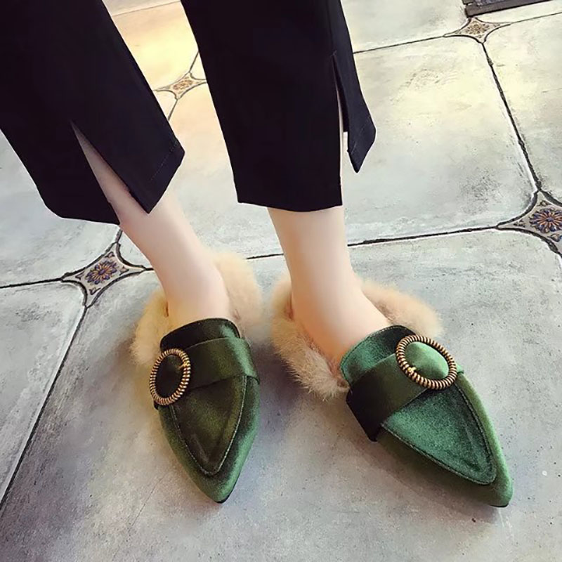 2019 Women's Brand Slippers Flat Woman Shoes Mules Fashion Metal Chain Ladies Fur Women Slippers Shoes Loafers Female Slides