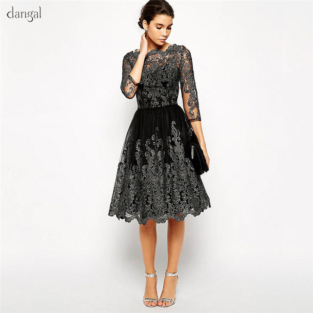 ebd7f94d1c6 Dangal Corsetted Party Dress Wedding Guest Dress Eveving Party Lace Midi  Dress With Embroidery Black Sleeve