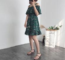 Summer Dresses Women Sleeveless Slash Neck Chiffon Camisole Floral Print Ruffles Casual soft