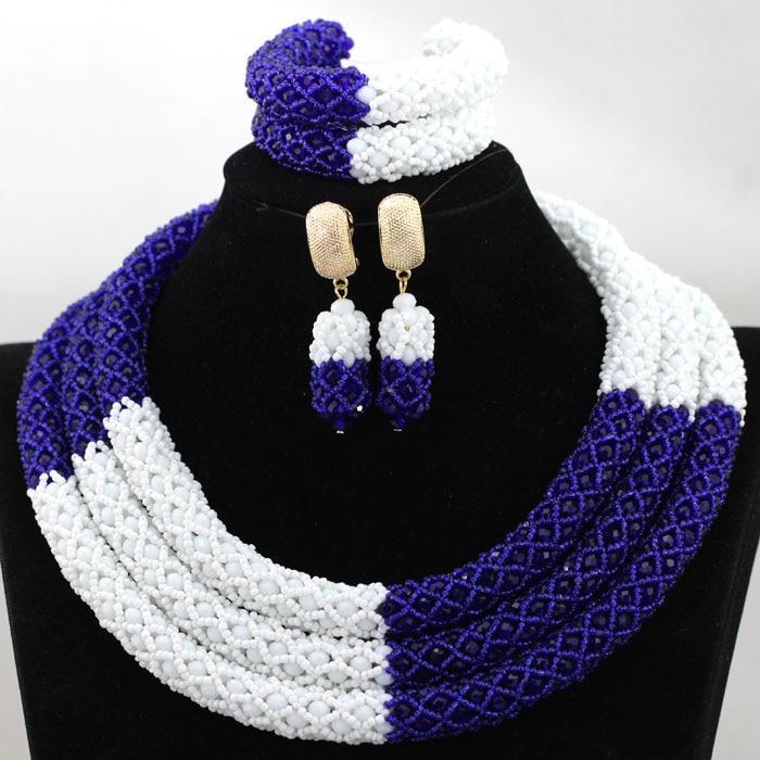 Splendid Royal Blue Mix Wit Afrikaanse Kralen Sieraden Set Nigeriaanse Wedding Kralen voor Bruiden Nieuwe Gift Set Gratis Verzending HX899-in Sieradensets van Sieraden & accessoires op  Groep 2