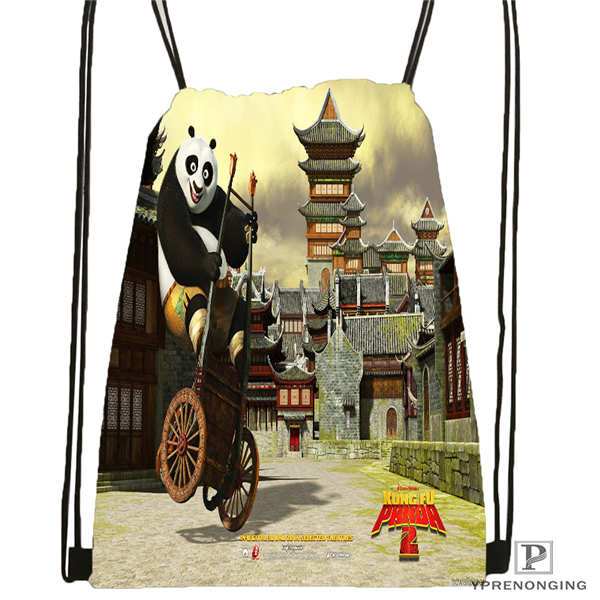 Custom Kung-fu-panda   Drawstring Backpack Bag Cute Daypack Kids Satchel (Black Back) 31x40cm#20180611-02-66