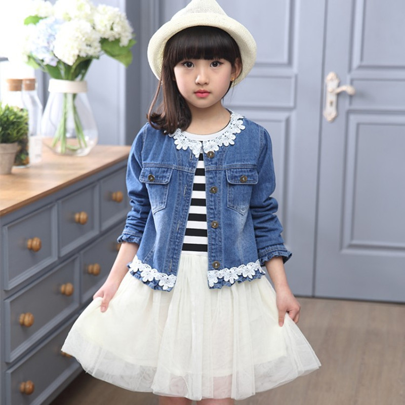 New Brand 2017 Spring Kids Girls Sets Fashion Children Cute O-Neck Printing Jeans Jacket+Lace Striped Dress 2 Pieces Clothes Hot new kids girls fashion o neck sleeveless dress cute animals print dress girls a line dress clear