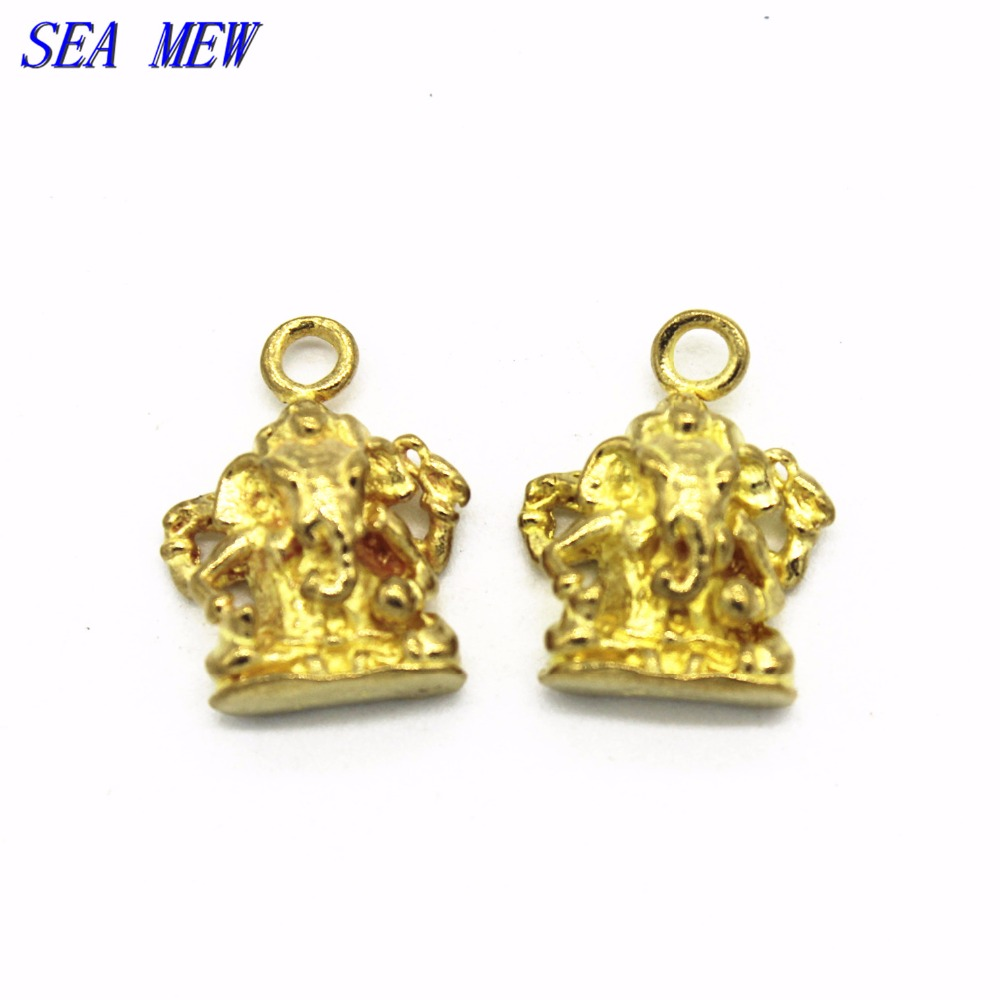 SEA MEW 20PCS Raw Brass Elephant Buddha Pendant Charm Connector 12mm*16mm For Jewelry Making