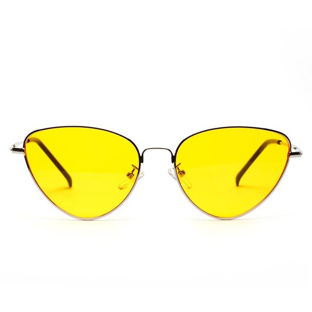 Cat Eye Sunglasses Women Tinted Color Lens Vintage Shaped Sun Glasses Women Eyewear 70s Luxe Red Female Sun glasses UV400
