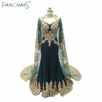 Green Mermaid Evening Gowns With Cape 2017 Kafatan Lace Robe de Soiree Muslim Gold Embroidery evening dress with long sleeves